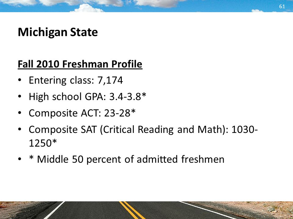 Michigan State Fall 2010 Freshman Profile Entering class: 7,174
