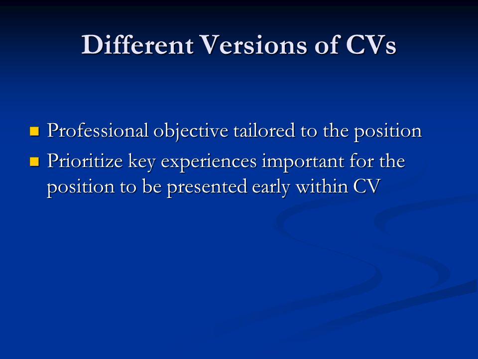 Different Versions of CVs