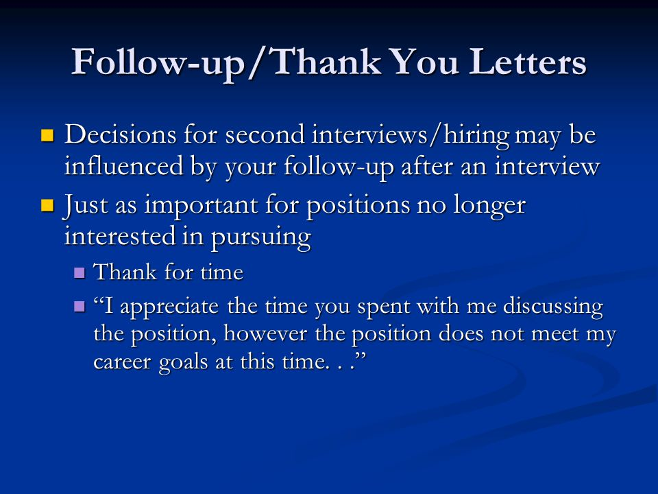 Follow-up/Thank You Letters