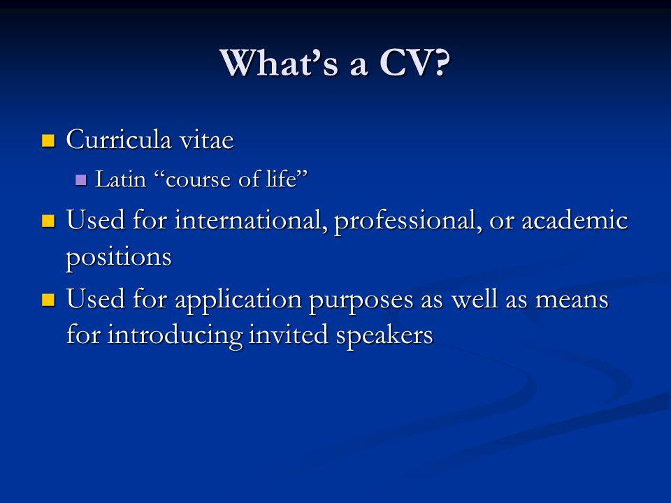 What's a CV Curricula vitae