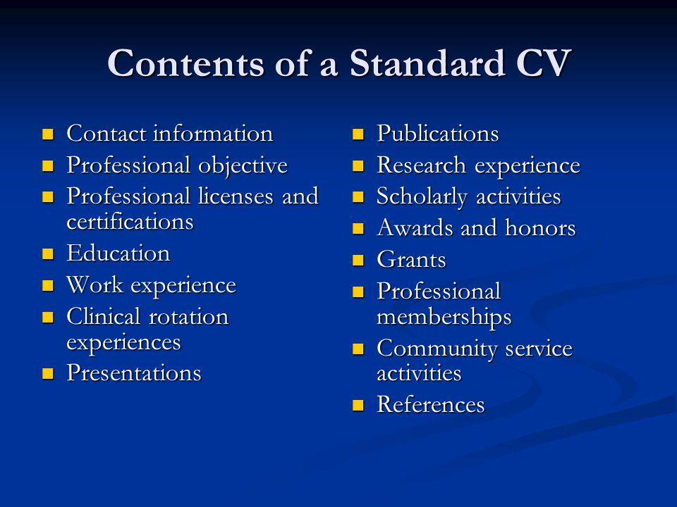 Contents of a Standard CV