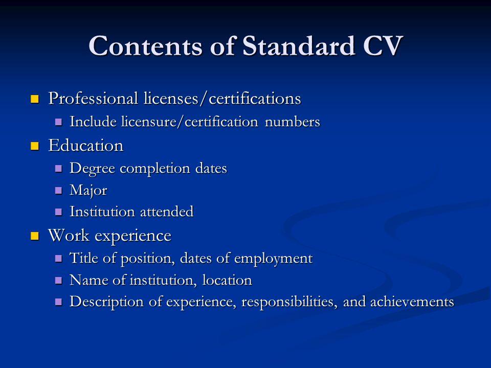 Contents of Standard CV