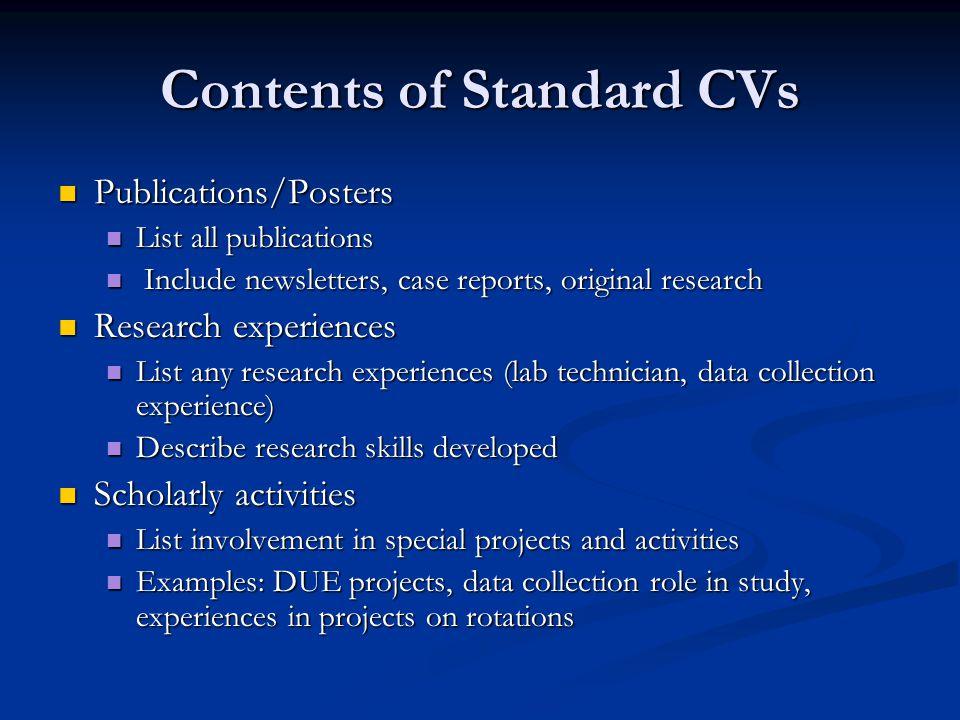 Contents of Standard CVs