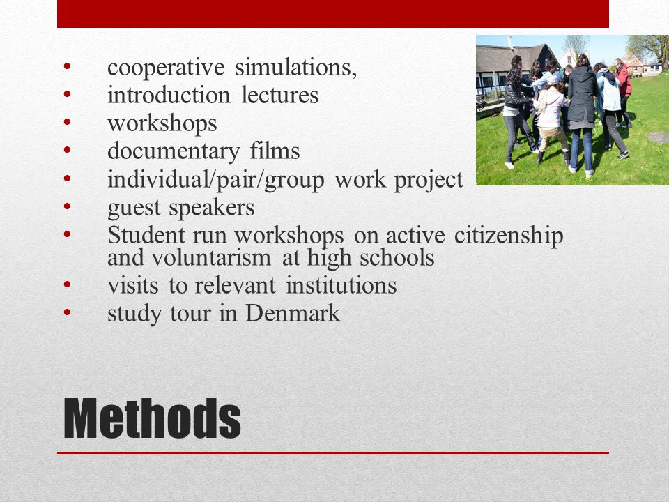 Methods cooperative simulations, introduction lectures workshops