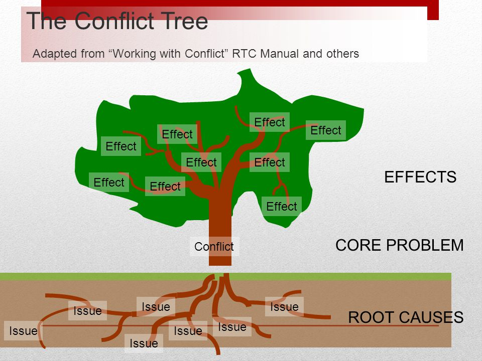 The Conflict Tree Adapted from Working with Conflict RTC Manual and others
