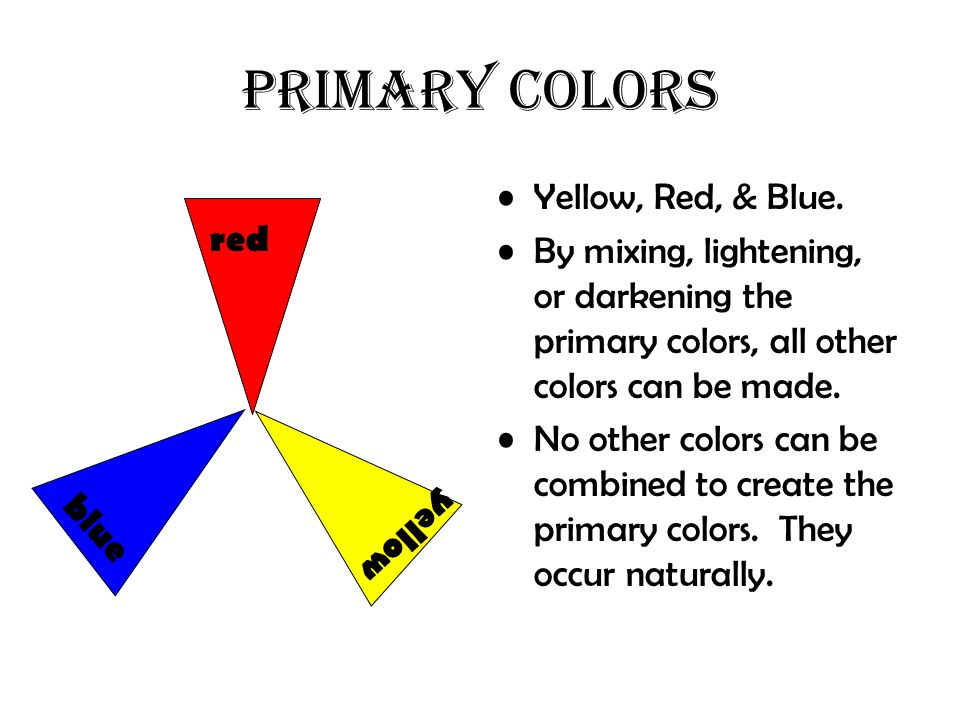 PRIMARY COLORS Yellow, Red, & Blue.