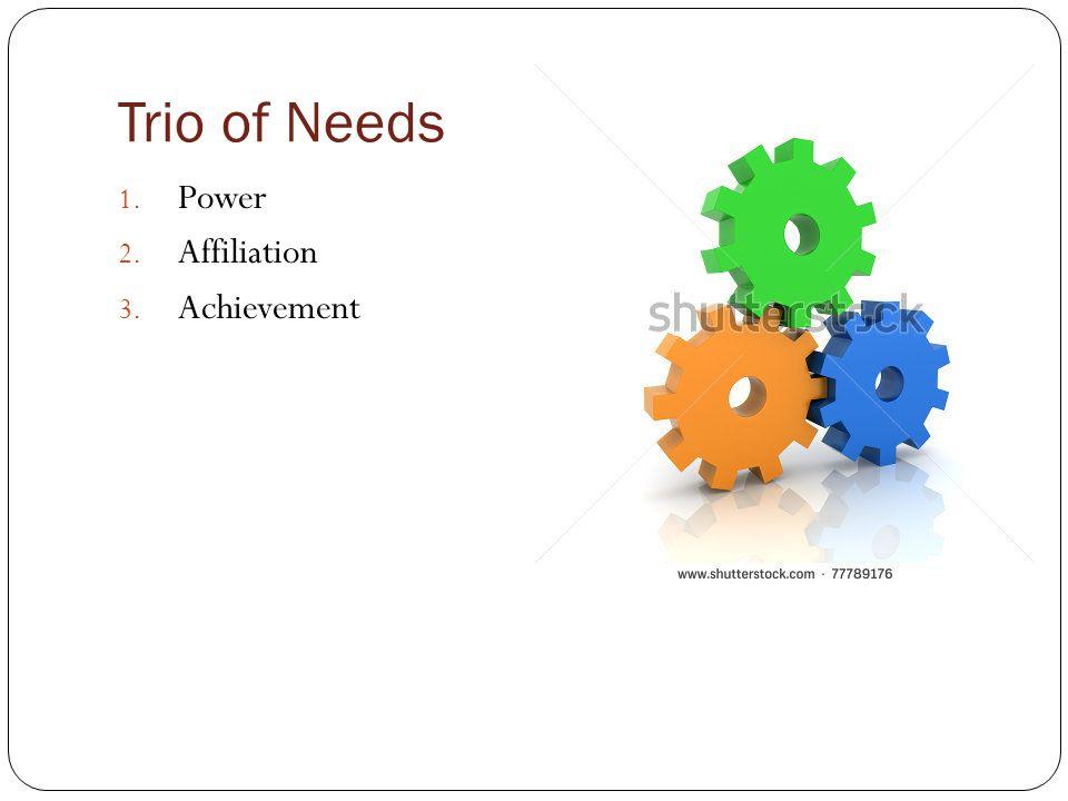 Trio of Needs Power Affiliation Achievement