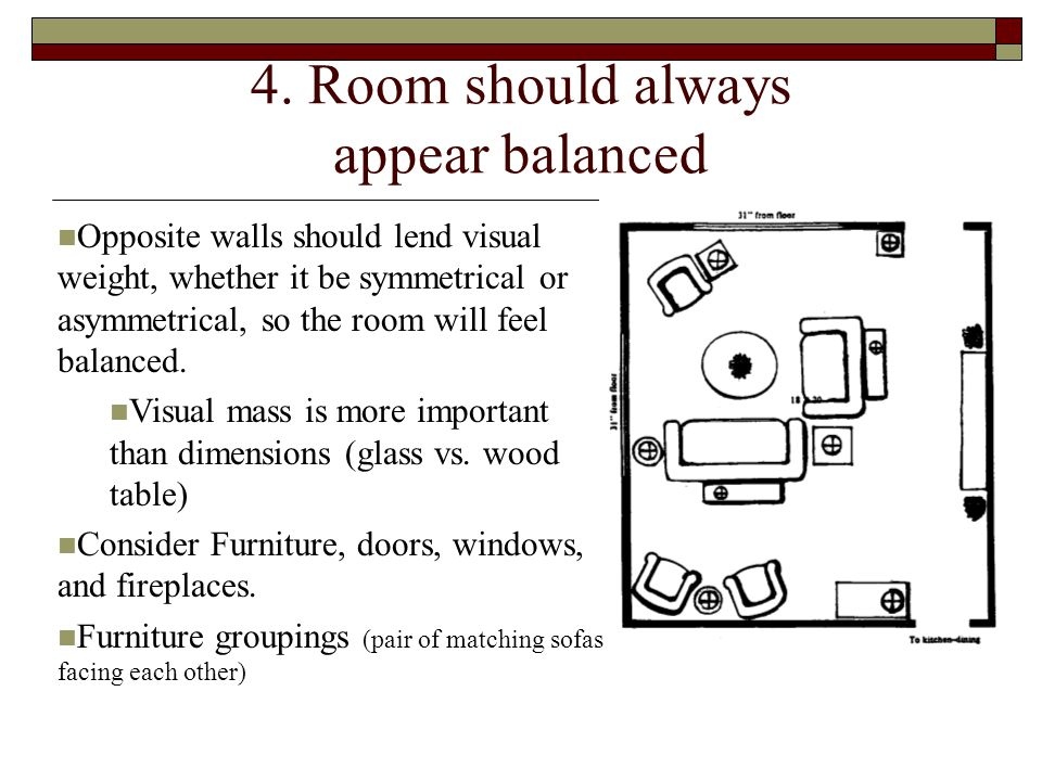 4. Room should always appear balanced