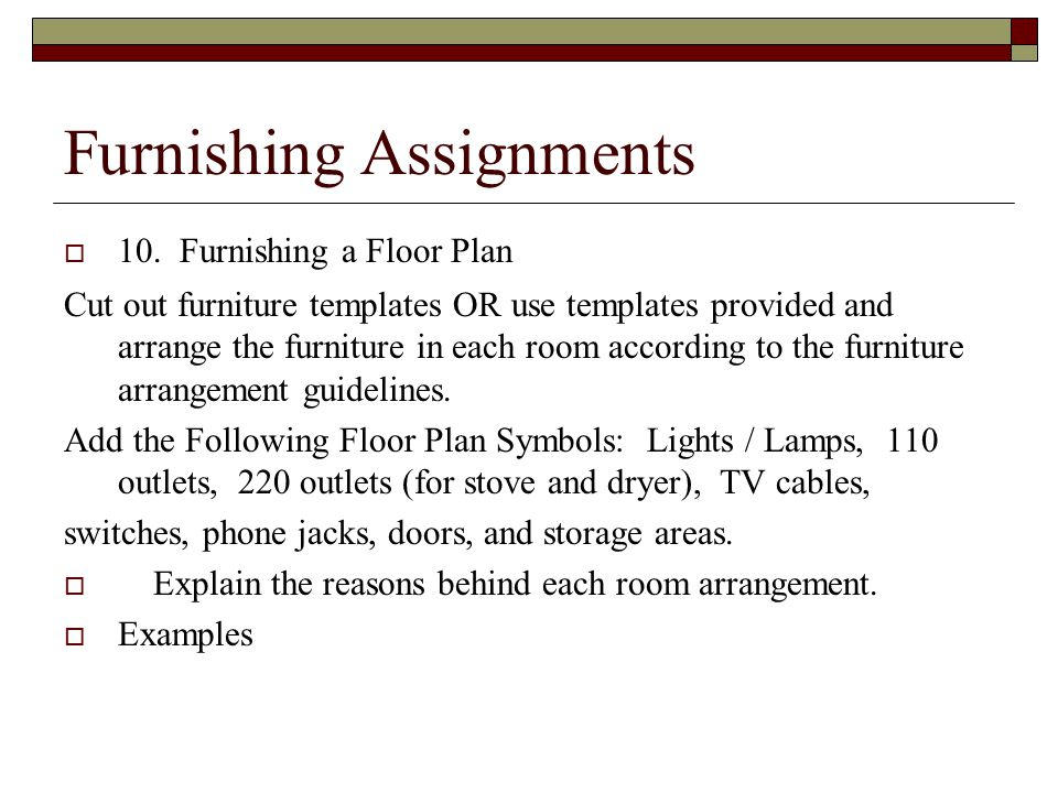 Furnishing Assignments