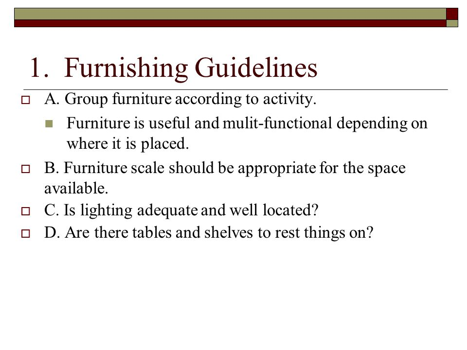 1. Furnishing Guidelines