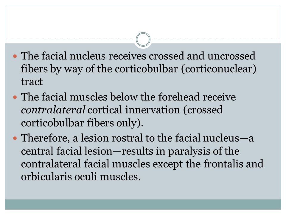 The facial nucleus receives crossed and uncrossed fibers by way of the corticobulbar (corticonuclear) tract