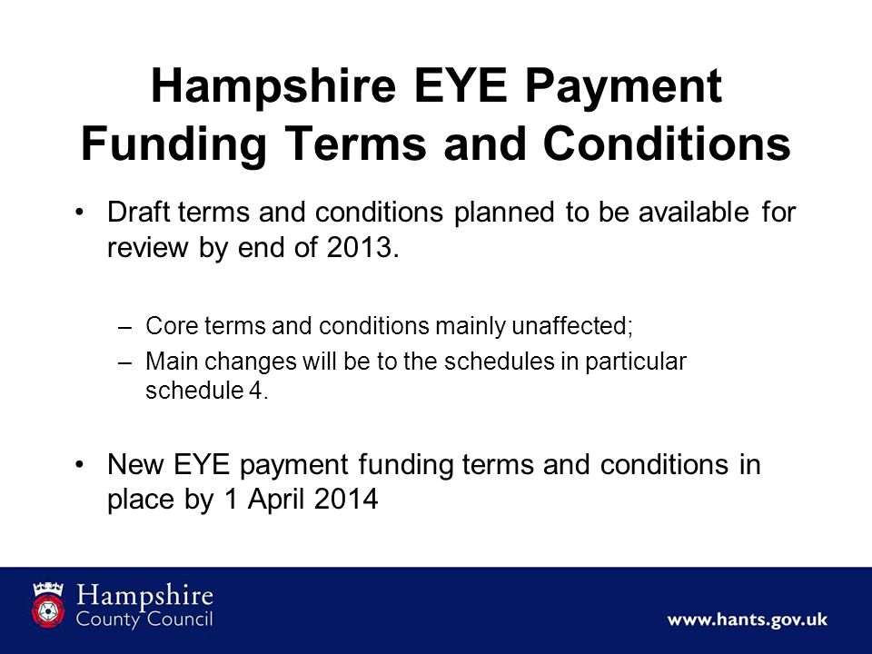 Hampshire EYE Payment Funding Terms and Conditions