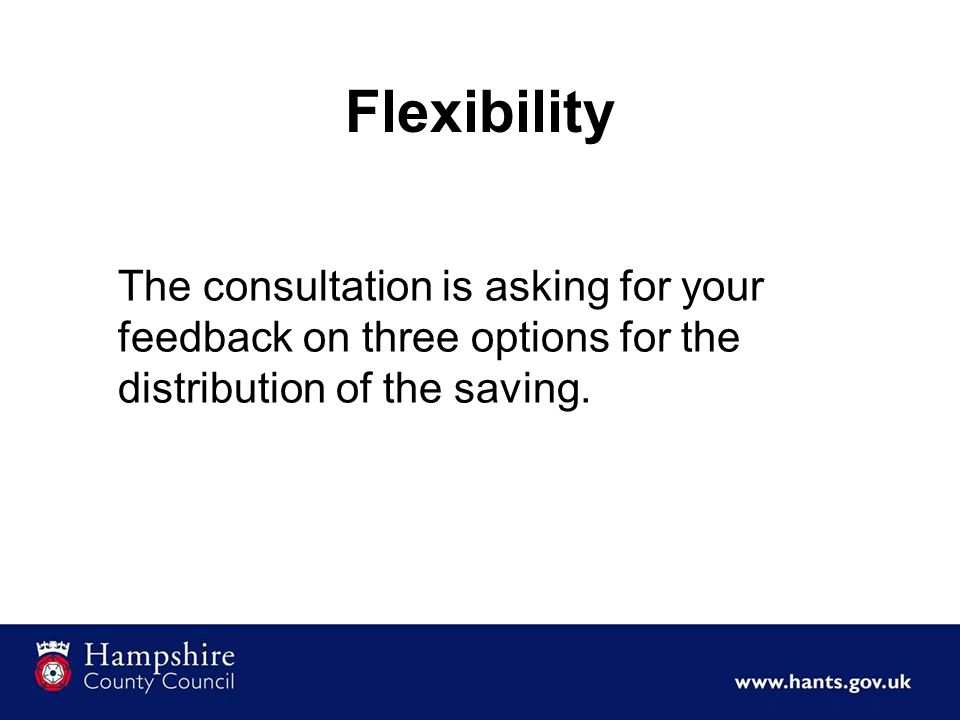 Flexibility The consultation is asking for your feedback on three options for the distribution of the saving.