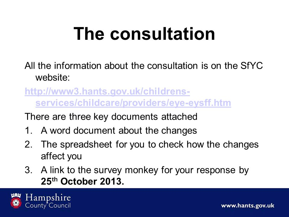 The consultation All the information about the consultation is on the SfYC website: