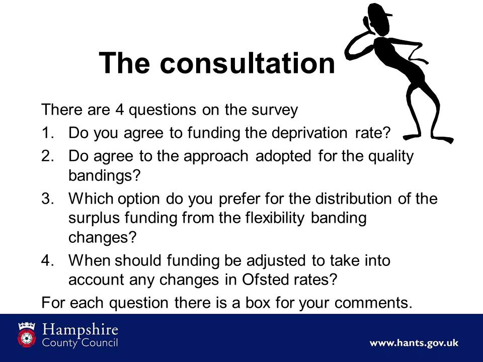The consultation There are 4 questions on the survey