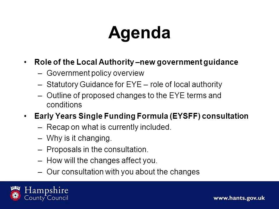 Agenda Role of the Local Authority –new government guidance