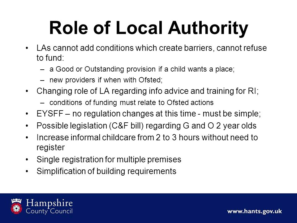 Role of Local Authority