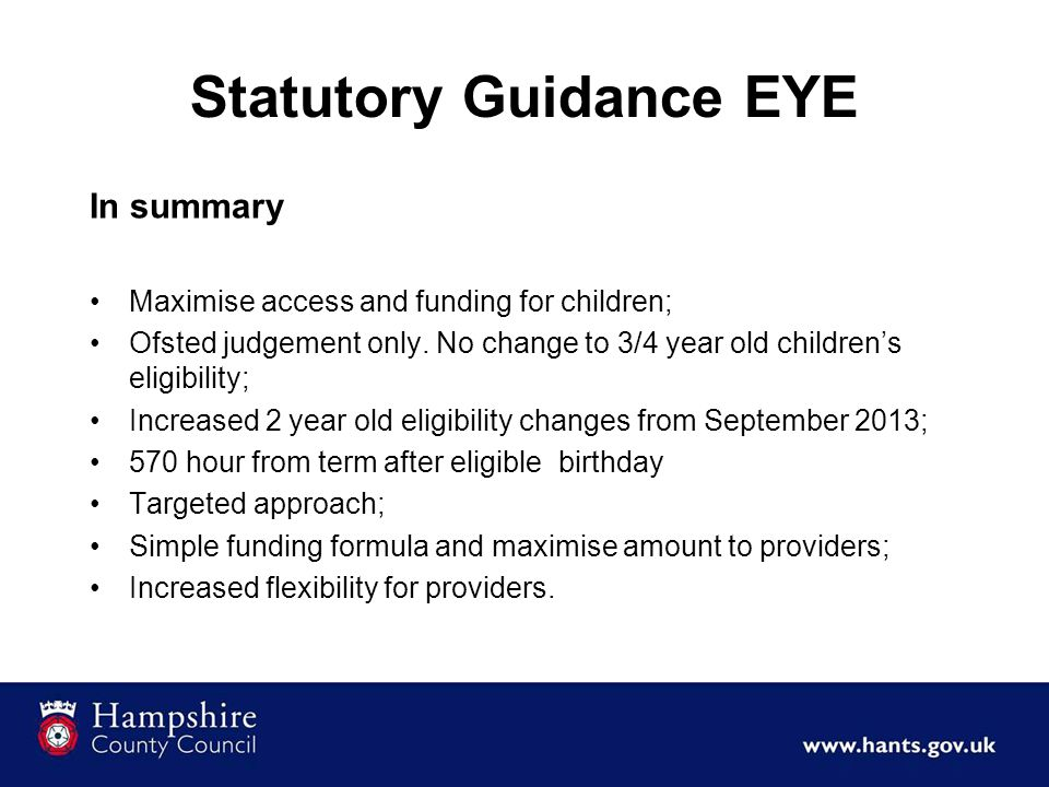 Statutory Guidance EYE