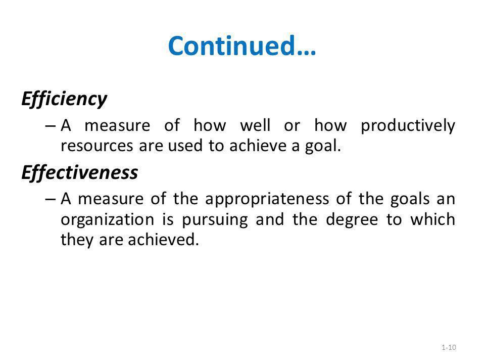 Continued… Efficiency Effectiveness