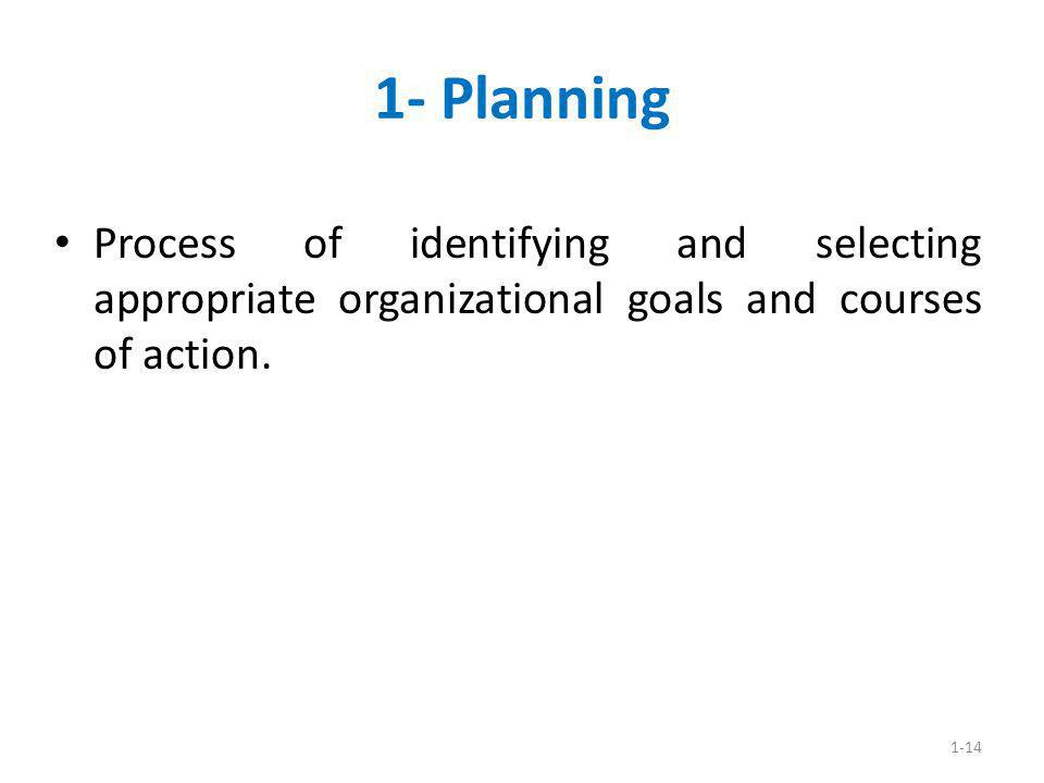 1- Planning Process of identifying and selecting appropriate organizational goals and courses of action.