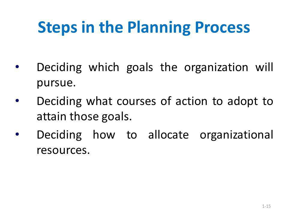 Steps in the Planning Process