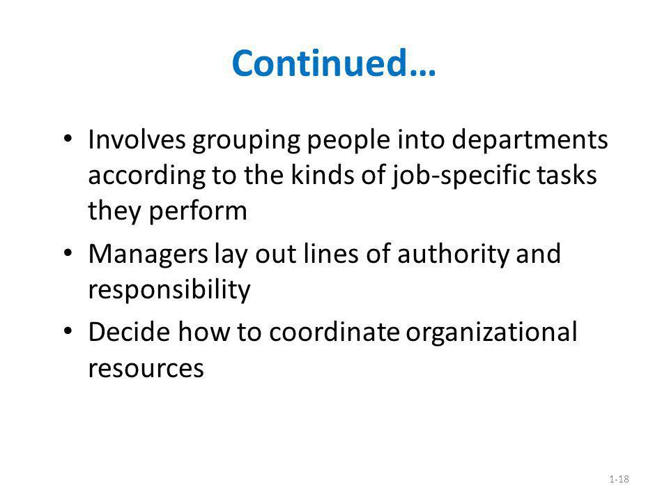 Continued… Involves grouping people into departments according to the kinds of job-specific tasks they perform.