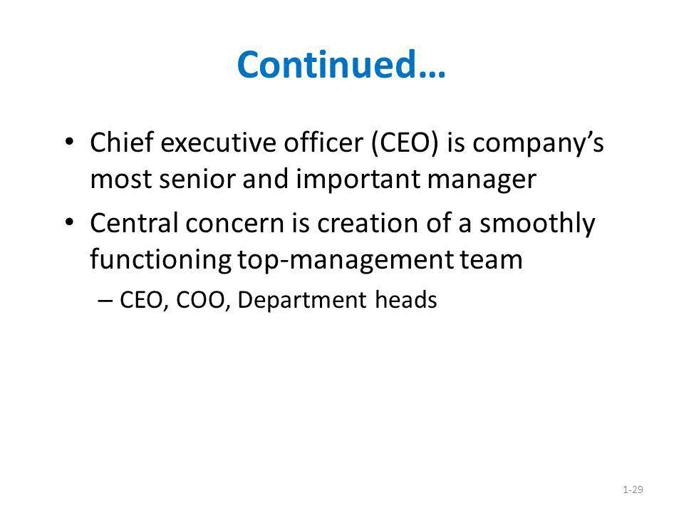 Continued… Chief executive officer (CEO) is company's most senior and important manager.