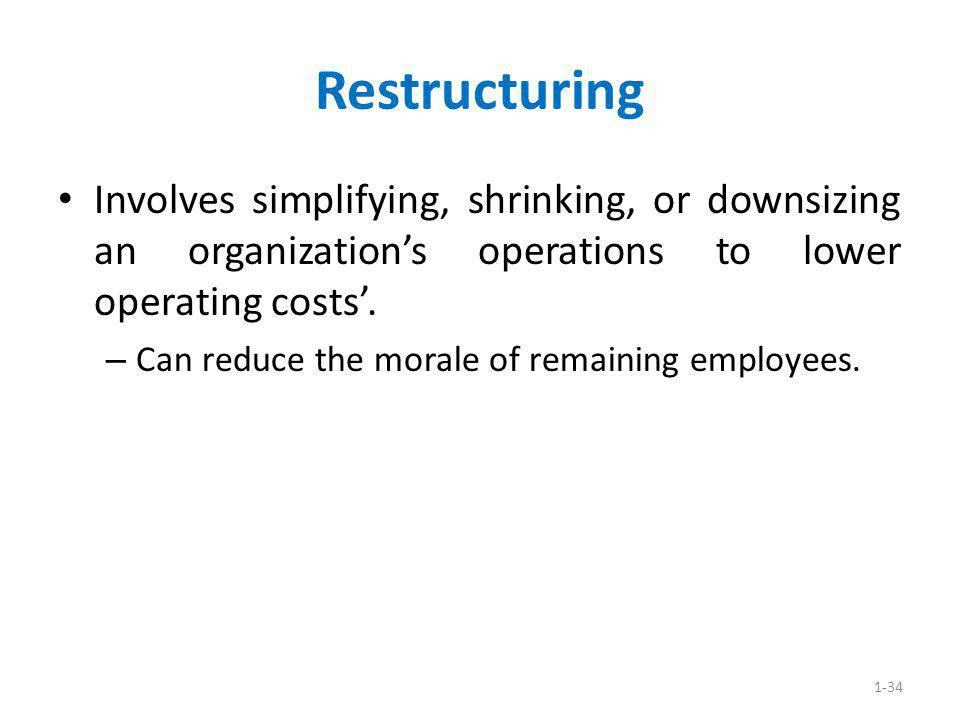 Restructuring Involves simplifying, shrinking, or downsizing an organization's operations to lower operating costs'.