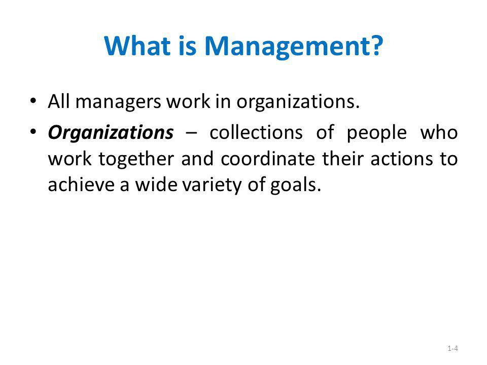 What is Management All managers work in organizations.