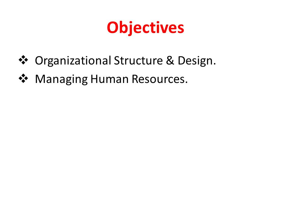 Objectives Organizational Structure & Design.