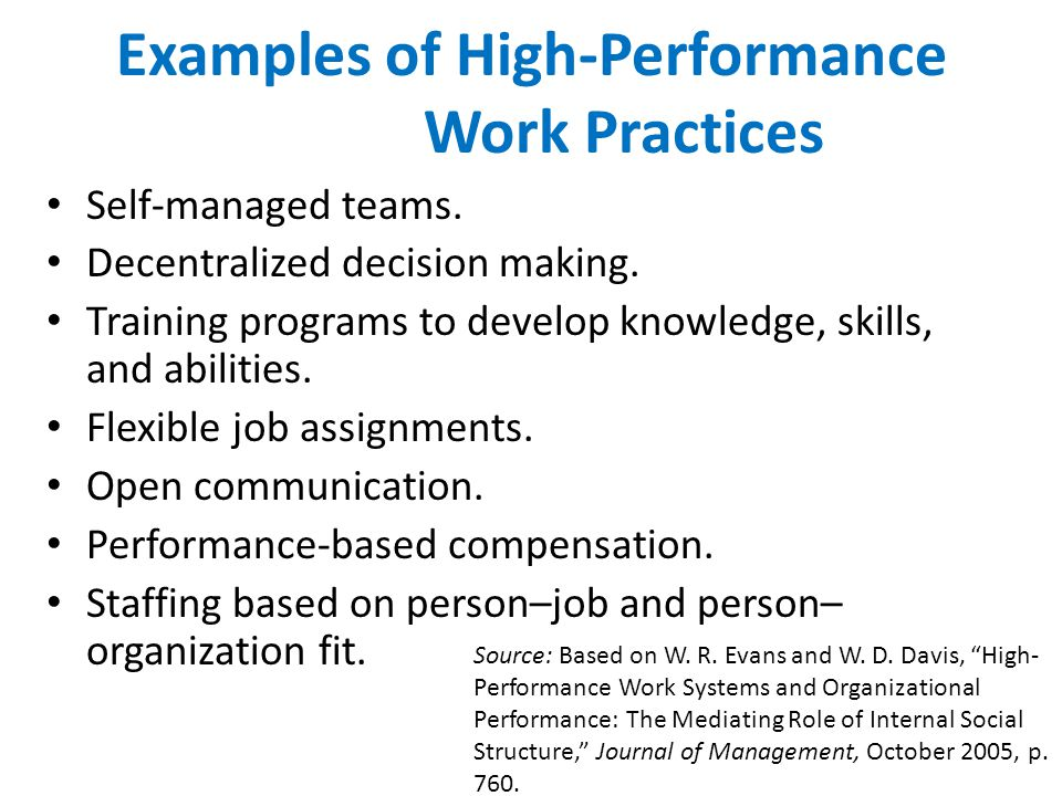 Examples of High-Performance Work Practices