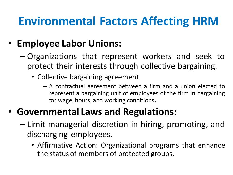 Environmental Factors Affecting HRM