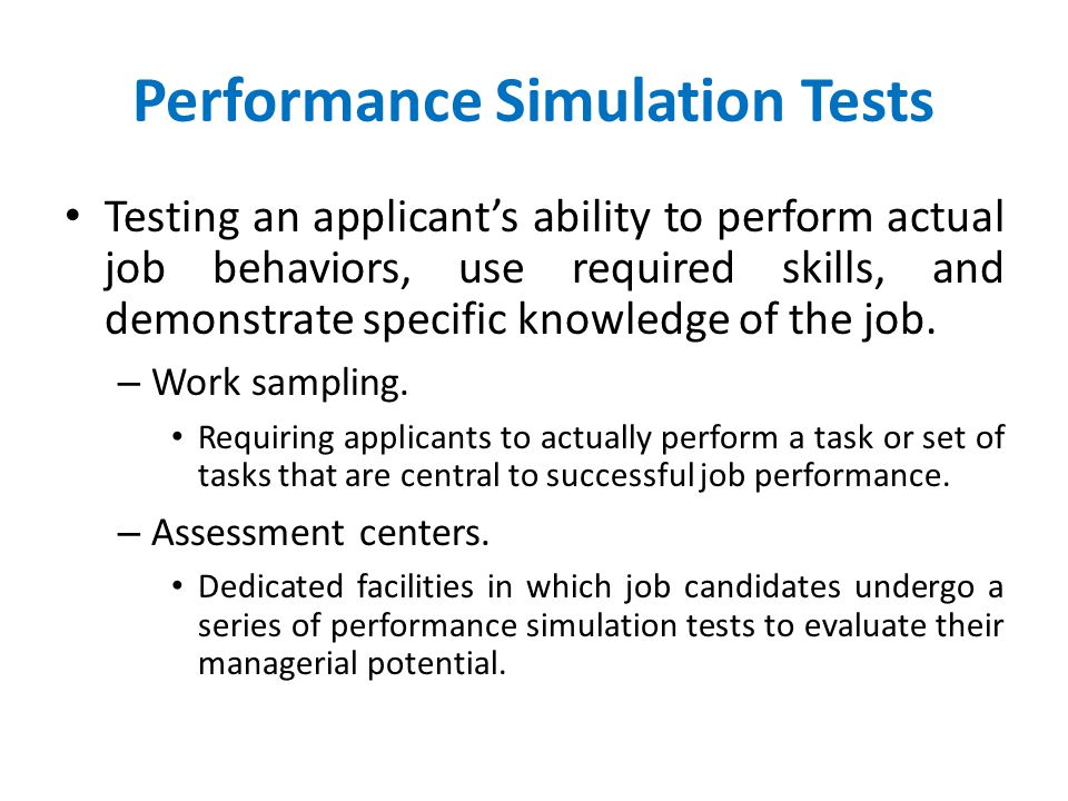 Performance Simulation Tests