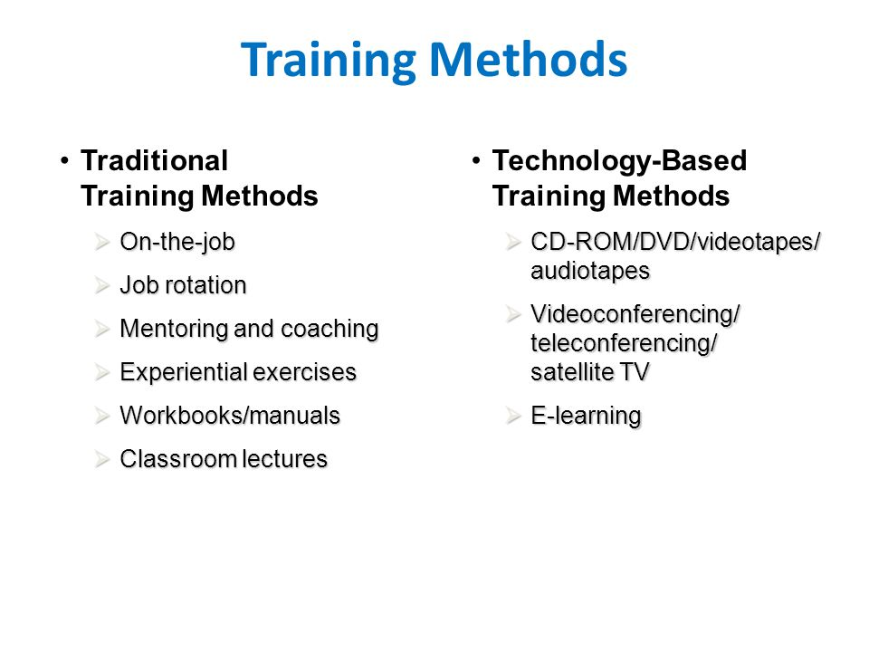 Training Methods Traditional Training Methods