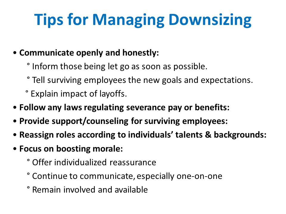 Tips for Managing Downsizing