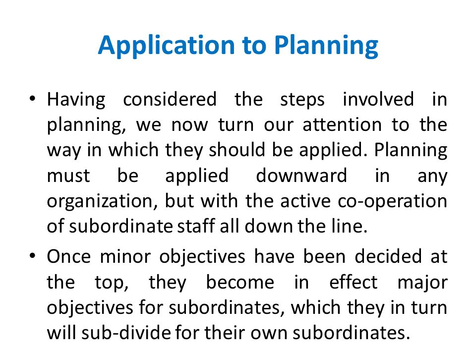 Application to Planning