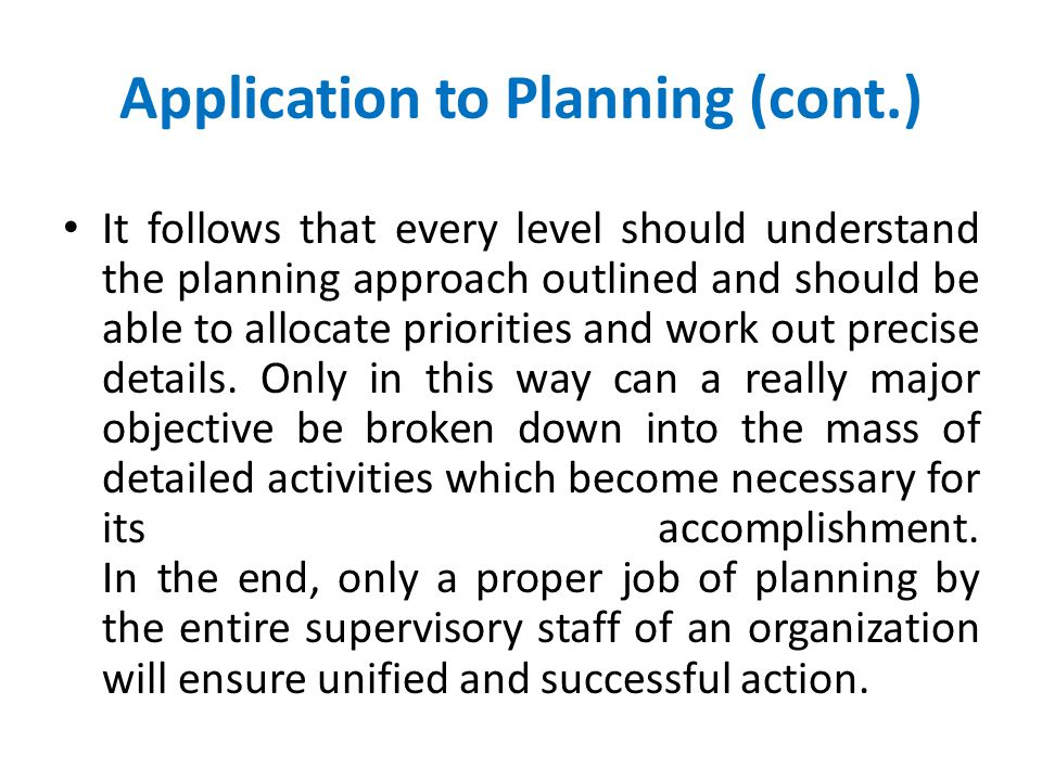 Application to Planning (cont.)