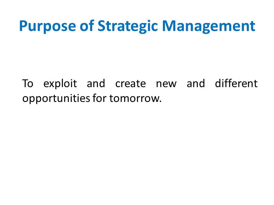 Purpose of Strategic Management