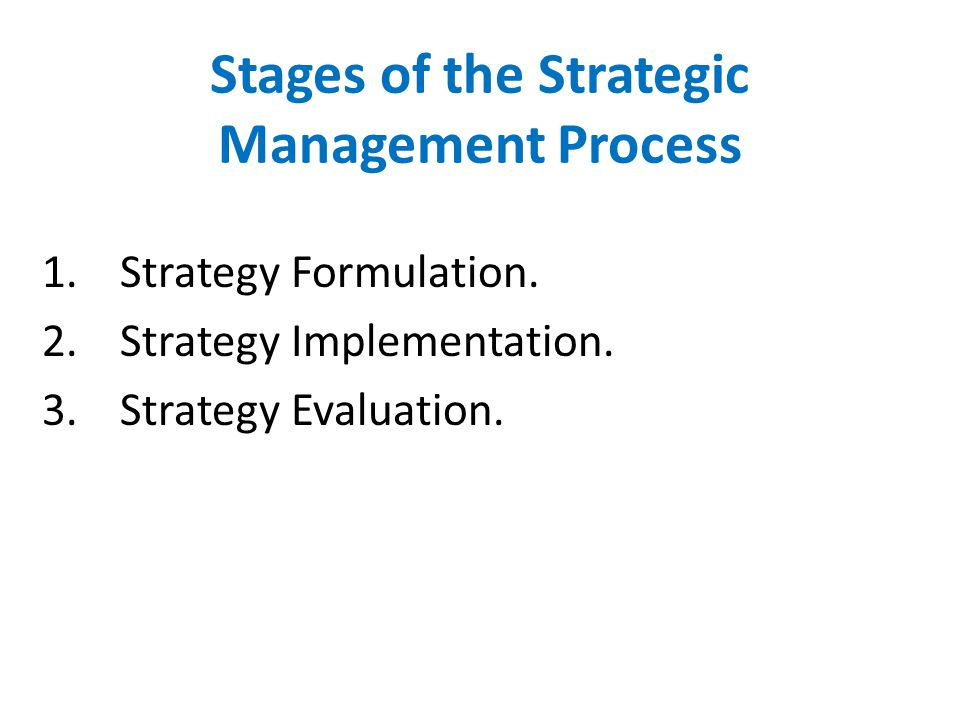Stages of the Strategic Management Process