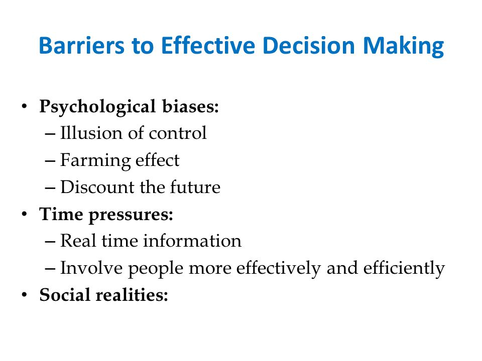 Barriers to Effective Decision Making
