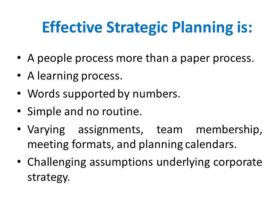 Effective Strategic Planning is: