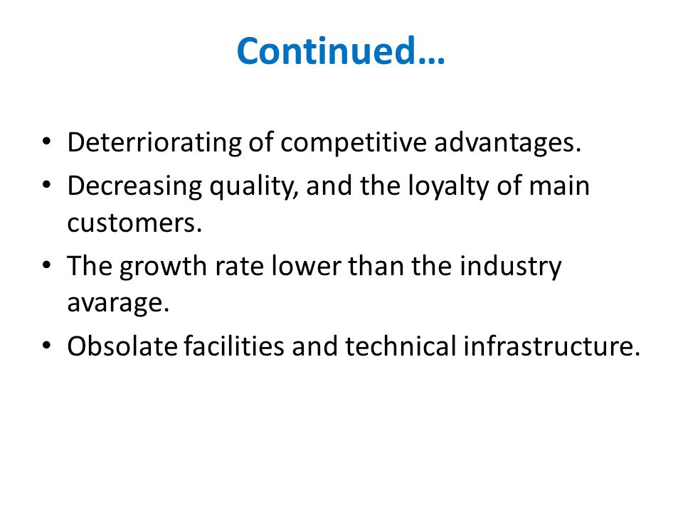 Continued… Deterriorating of competitive advantages.