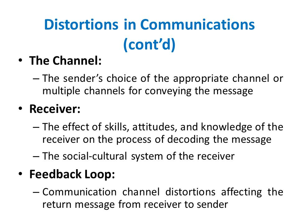 Distortions in Communications (cont'd)