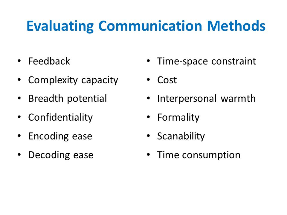 Evaluating Communication Methods