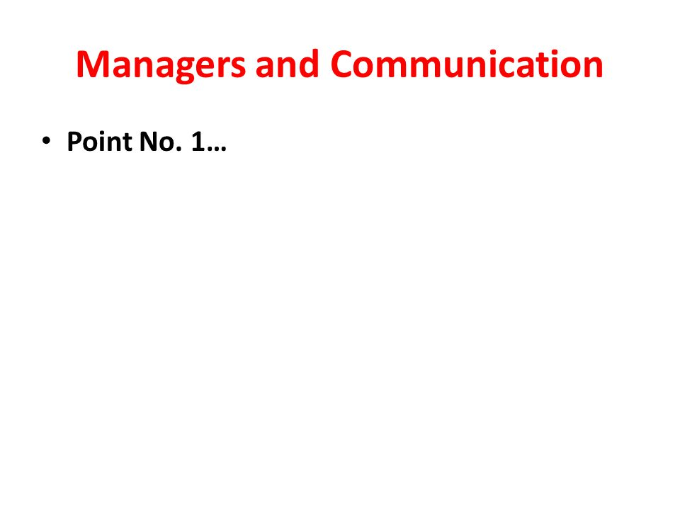 Managers and Communication