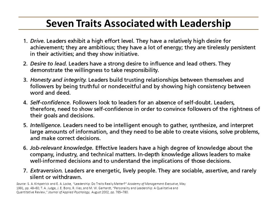 Seven Traits Associated with Leadership