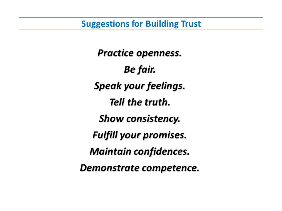 Suggestions for Building Trust