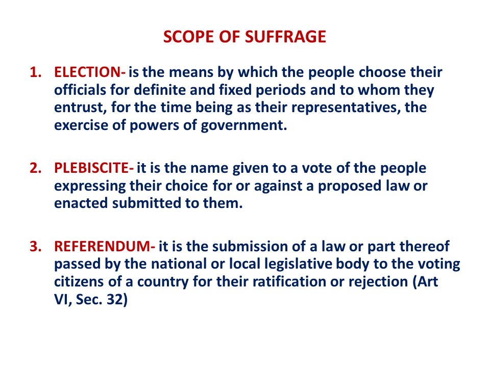 SCOPE OF SUFFRAGE