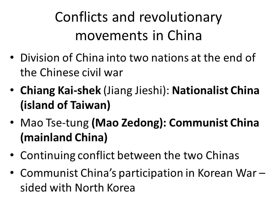Conflicts and revolutionary movements in China