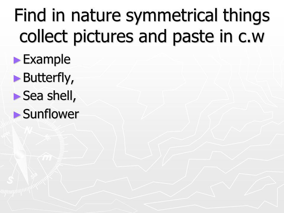 Find in nature symmetrical things collect pictures and paste in c.w